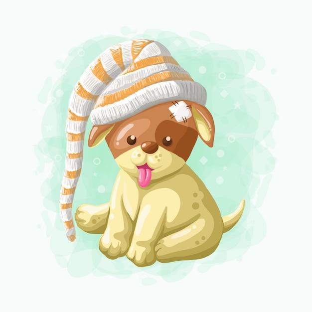 Vetor de ilustração de cachorro bonito dos desenhos animados Vetor Premium