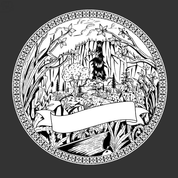 Vetor de ilustração de desenho de selva Vetor Premium