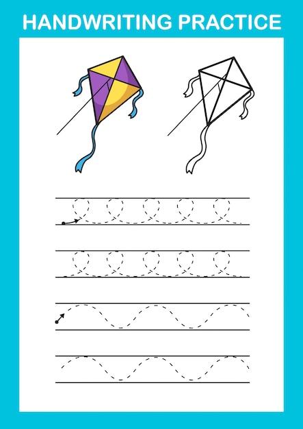 Vetor de ilustração de folha de prática de caligrafia Vetor Premium