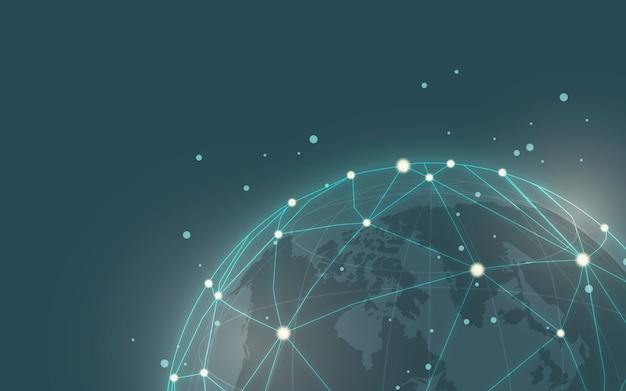 Vetor de ilustração de fundo azul de conexão em todo o mundo Vetor grátis
