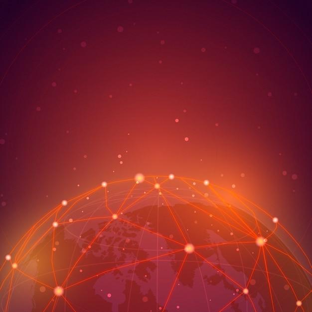 Vetor de ilustração de fundo vermelho de conexão em todo o mundo Vetor grátis