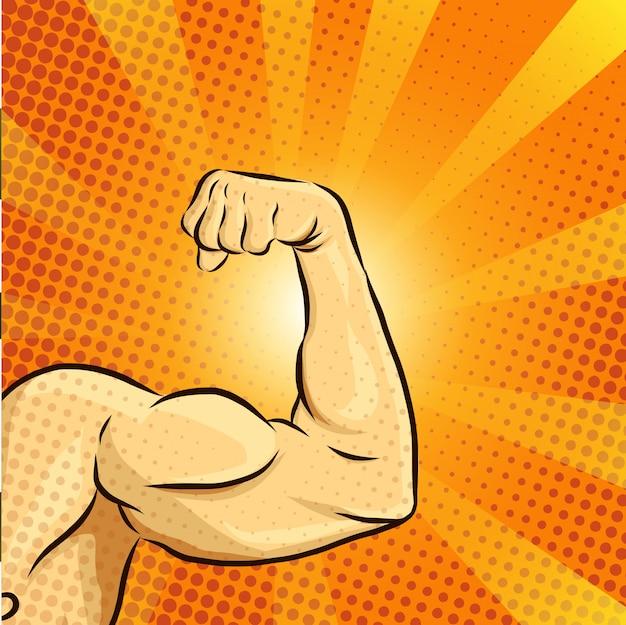 Vetor de ilustração de músculo homem Vetor Premium