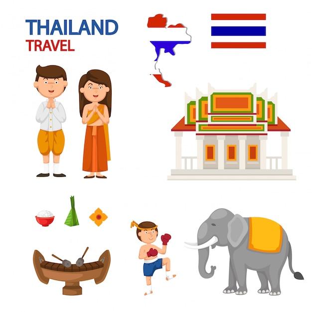 Vetor de ilustração de viagens tailândia Vetor Premium