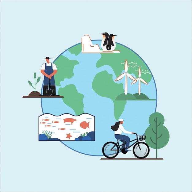 Vetor de ilustração do dia da terra Vetor Premium
