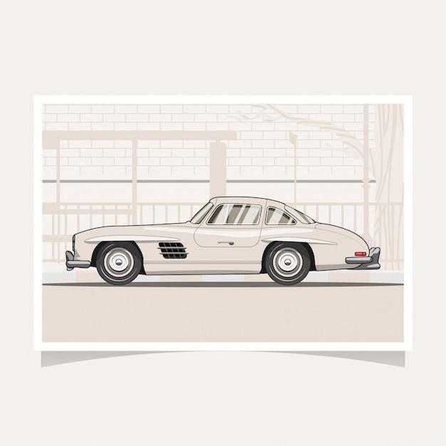 Vetor de ilustração plana de design conceitual de carro clássico Vetor Premium