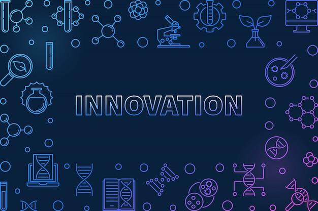 Vetor de inovação conceito genético contorno colorido horizontal ilustração em fundo escuro Vetor Premium