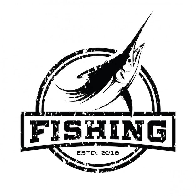 Vetor de inspiração de design de logotipo retrô de atum Vetor Premium