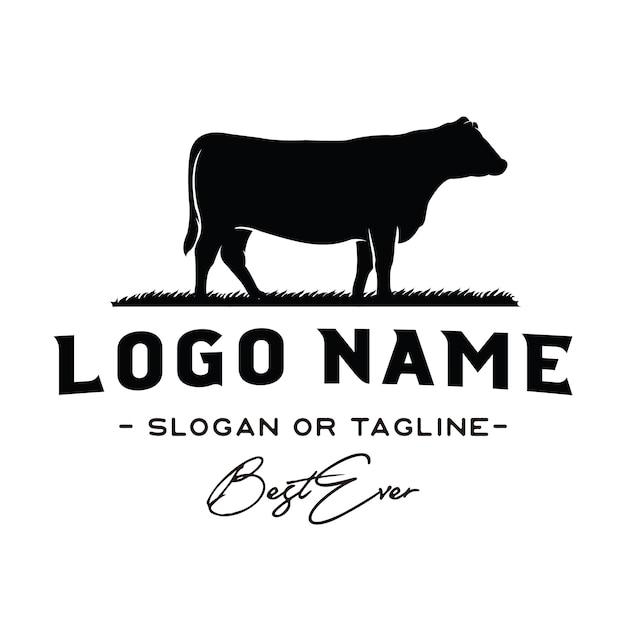 Vetor de inspiração vintage gado / carne logo design Vetor Premium