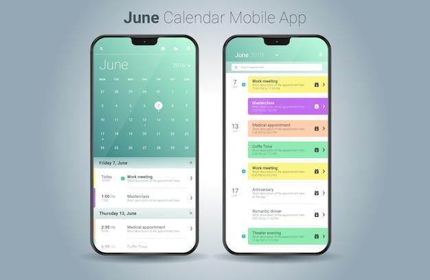 Vetor de interface do usuário de calendário de junho aplicação móvel luz Vetor Premium