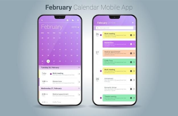 Vetor de interface do usuário do calendário móvel aplicação de luz de fevereiro Vetor Premium