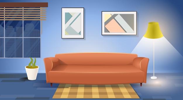 Vetor de interiores de sala de estar moderna Vetor Premium