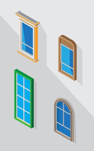 Vetor de janela para decoração de design gráfico Vetor Premium