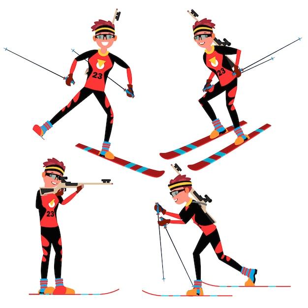Vetor de jogador masculino de biatlo. em ação. esportista na competição de biatlo de esqui. equipamento desportivo. personagem de desenho animado Vetor Premium