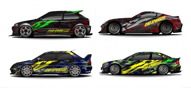 Vetor de kit gráfico de veículo. abstrato moderno para carro embrulho branding e etiqueta do automóvel decalques libré Vetor Premium
