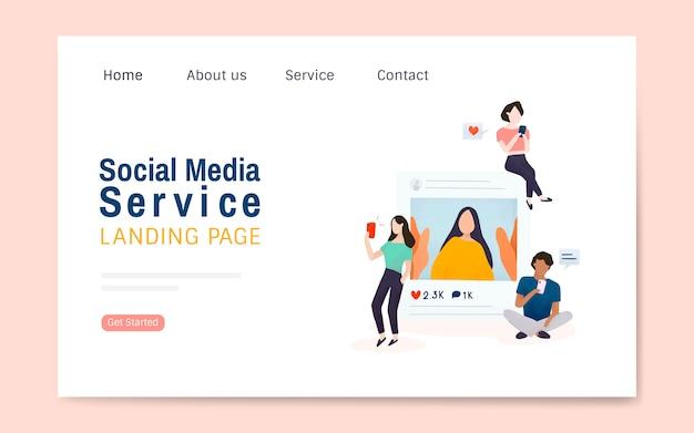 Vetor de layout de página de destino de serviço de mídia social Vetor grátis