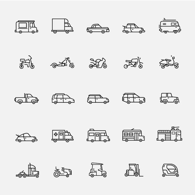 Vetor de linha de ícone de veículo Vetor Premium