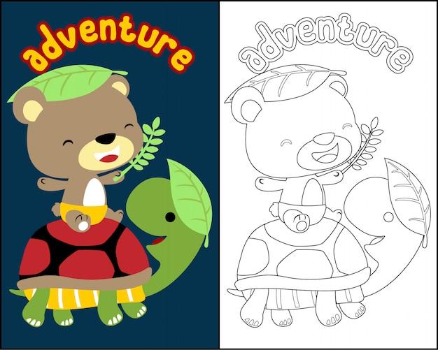vetor de livro de colorir com desenhos animados de animais fofos