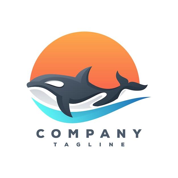 Vetor de logotipo de baleia assassina Vetor Premium