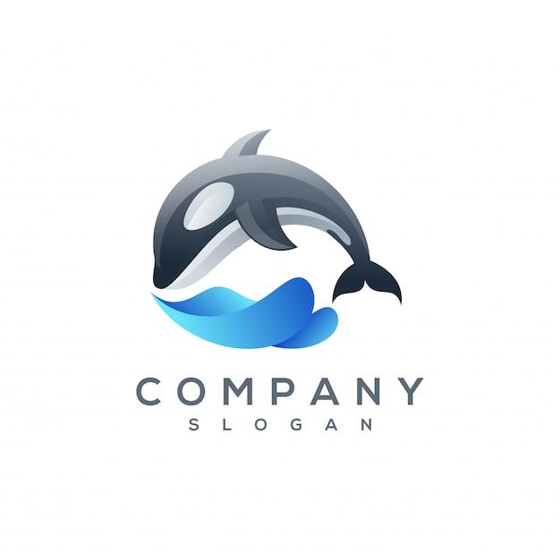 Vetor de logotipo de baleia Vetor Premium