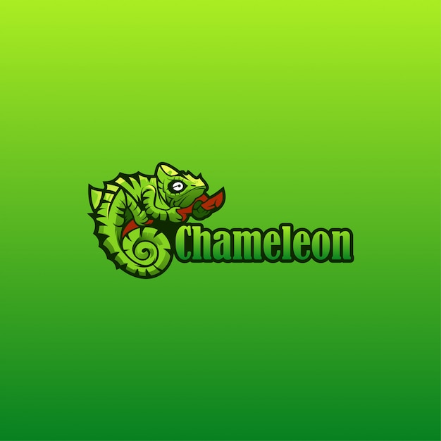 Vetor de logotipo de camaleão Vetor Premium