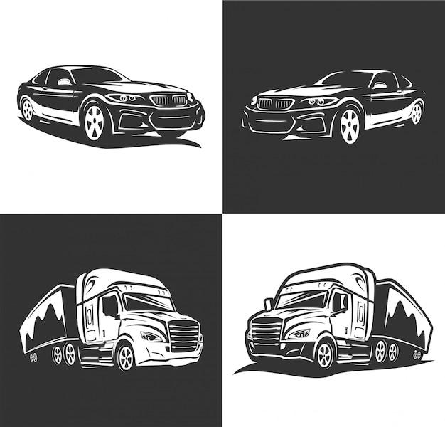 Vetor de logotipo de carro de transporte Vetor Premium