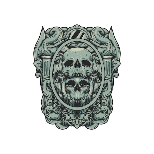 Vetor de logotipo de crânio Vetor Premium