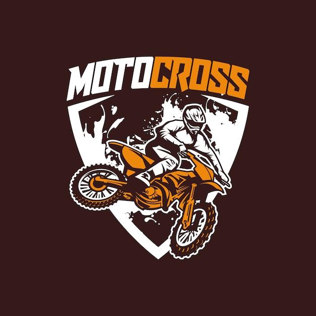Vetor de logotipo de cruz de moto Vetor Premium