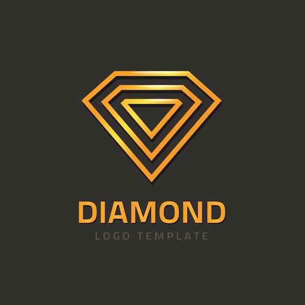 Vetor de logotipo de diamante ou logotipo de joia dourada Vetor Premium