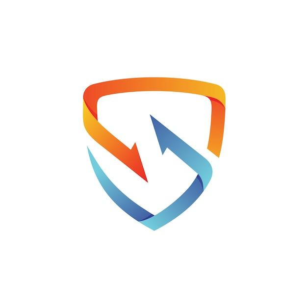 Vetor de logotipo de escudo de seta Vetor Premium