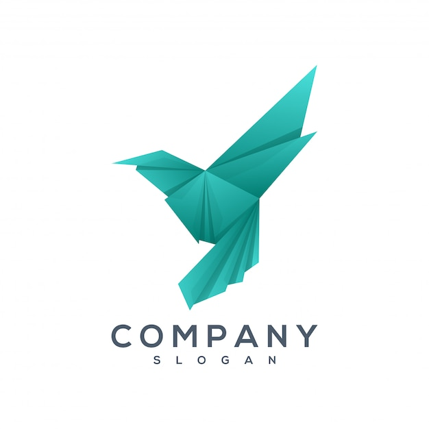 Vetor de logotipo de estilo de origami de pássaro Vetor Premium