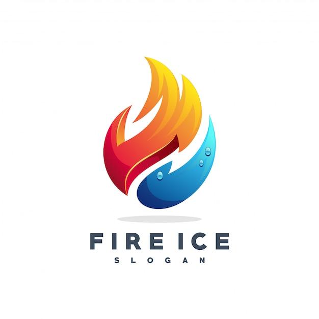 Vetor de logotipo de fogo e água Vetor Premium
