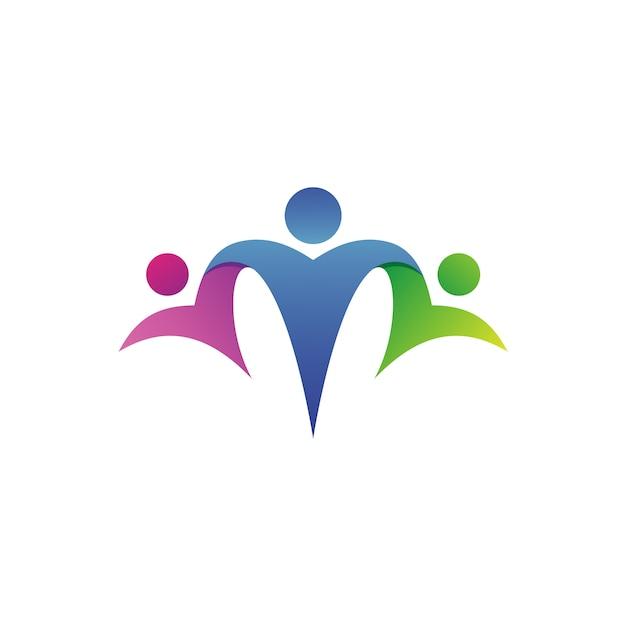 Vetor de logotipo de fundação de assistência familiar Vetor Premium