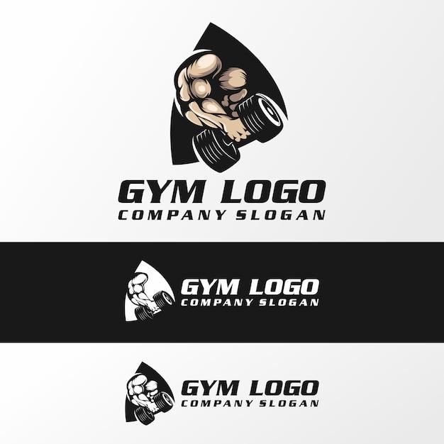 Vetor de logotipo de ginásio fitnes, ilustração, modelo Vetor Premium