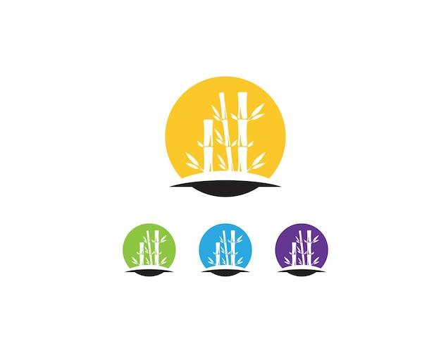 Vetor de logotipo de ícone de folha de bambu Vetor Premium