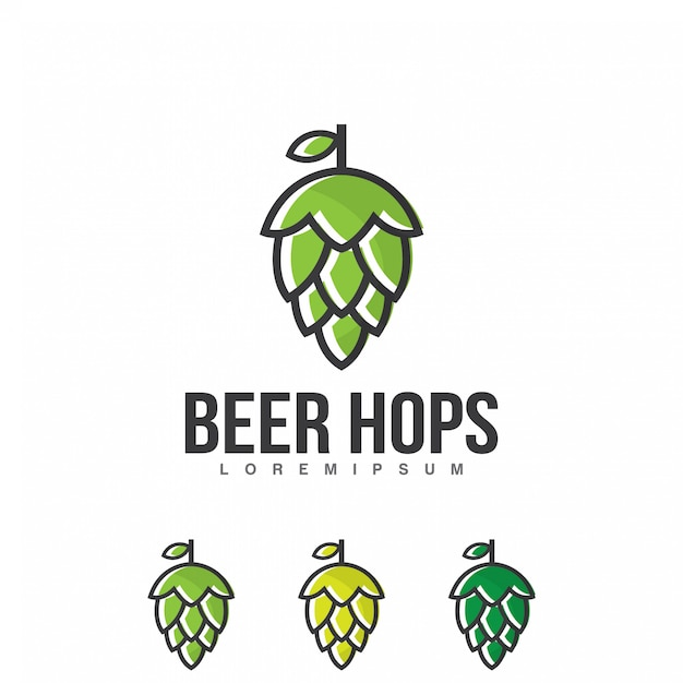 Vetor de logotipo de lúpulo de cerveja Vetor Premium