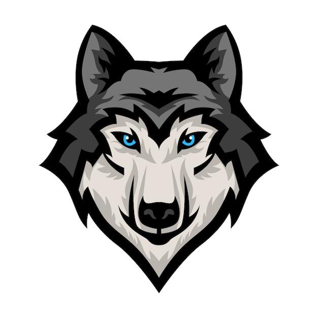 Vetor de logotipo de mascote de cabeça de lobo Vetor Premium