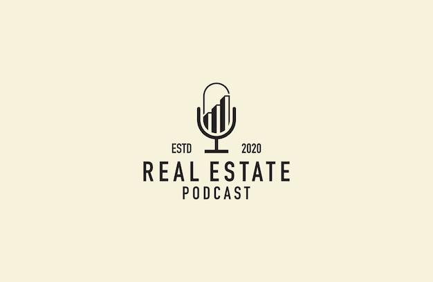 Vetor de logotipo de podcast imobiliário Vetor Premium