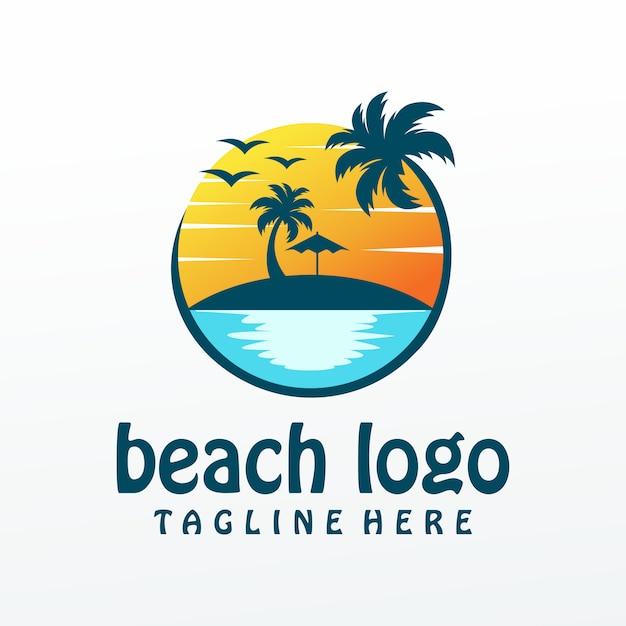 Vetor de logotipo de praia, modelo, ilustração, Vetor Premium
