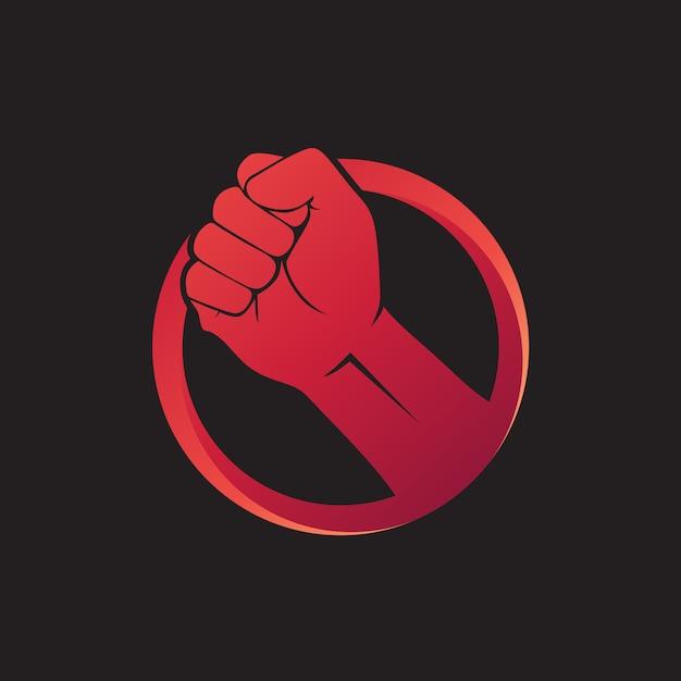 Vetor de logotipo de punho de mão Vetor Premium