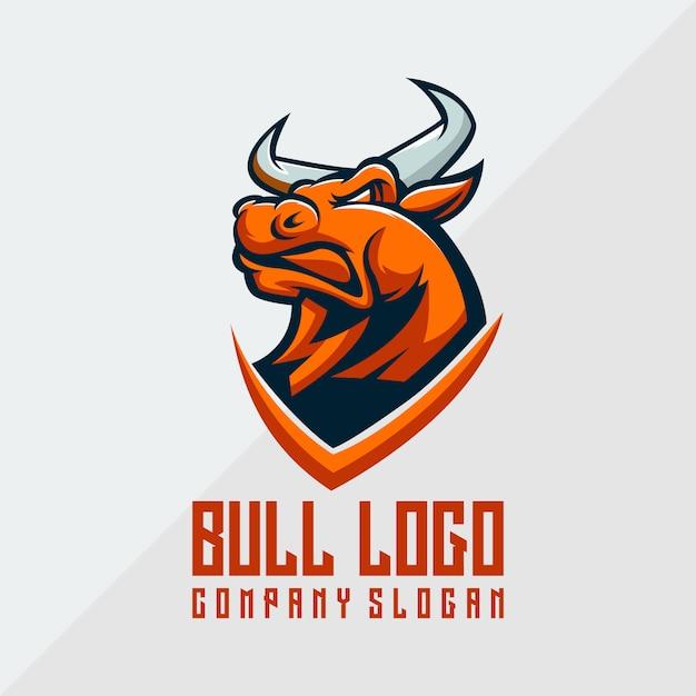 Vetor de logotipo de touro, animal, modelo Vetor Premium
