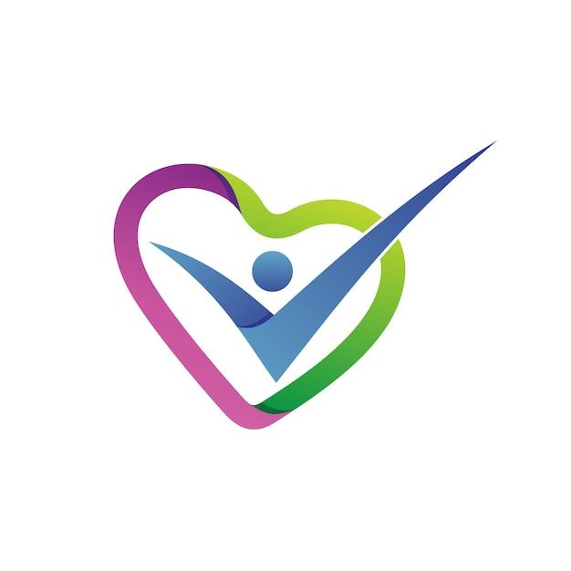 Vetor de logotipo do amor forma cuidados de saúde Vetor Premium