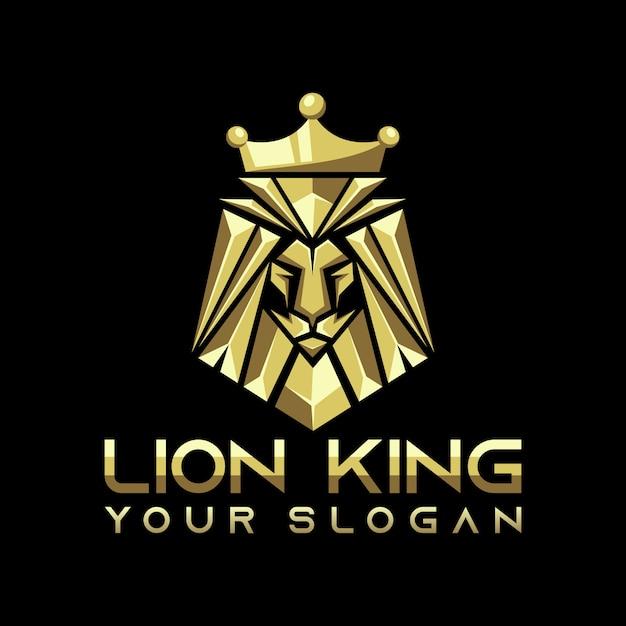 Vetor de logotipo do leão rei, modelo, ilustração Vetor Premium