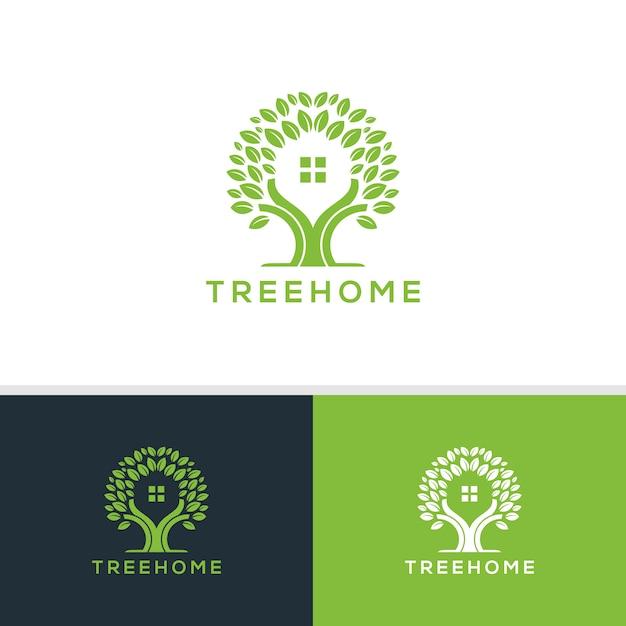 Vetor de logotipo em casa de árvore Vetor Premium