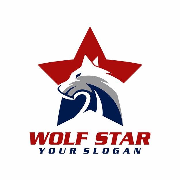 Vetor de logotipo estrela lobo, modelo, ilustração Vetor Premium