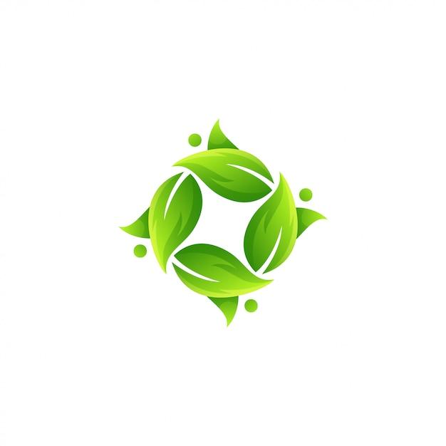 Vetor de logotipo impressionante folha verde Vetor Premium