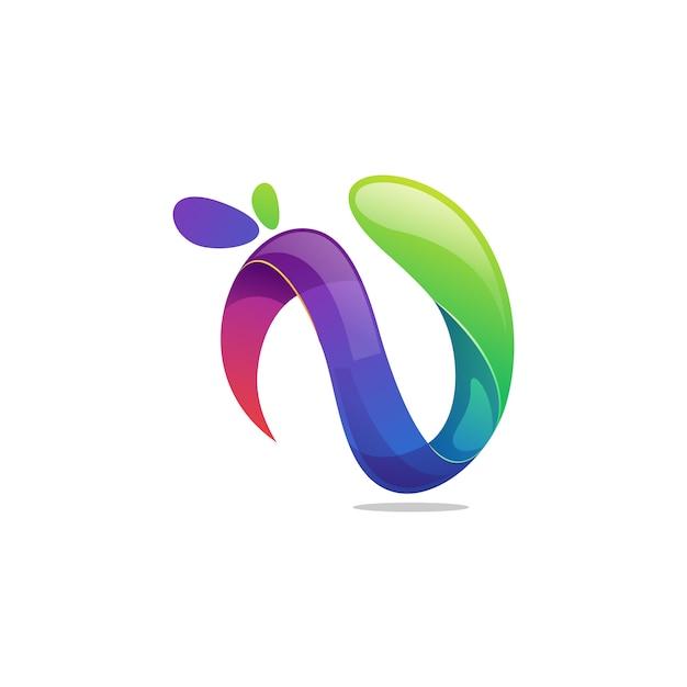 Vetor de logotipo letra n Vetor Premium