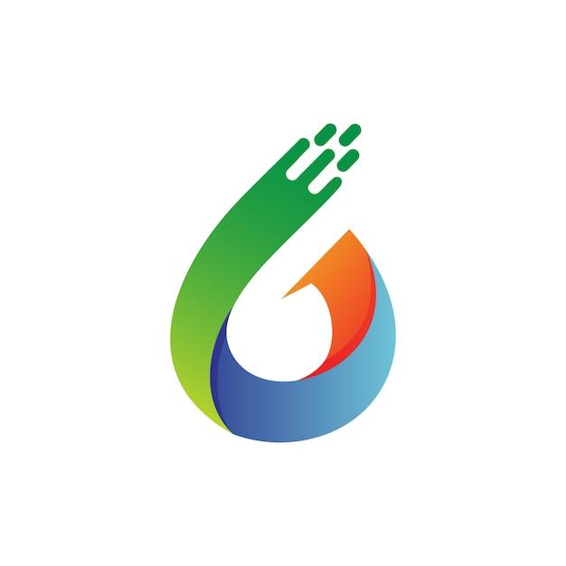 Vetor de logotipo número seis Vetor Premium