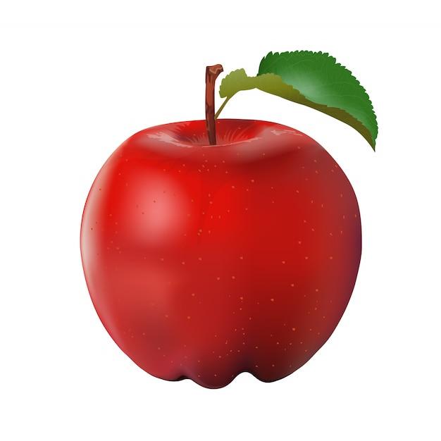 Vetor de maçã fresca isolado no fundo branco. Vetor Premium