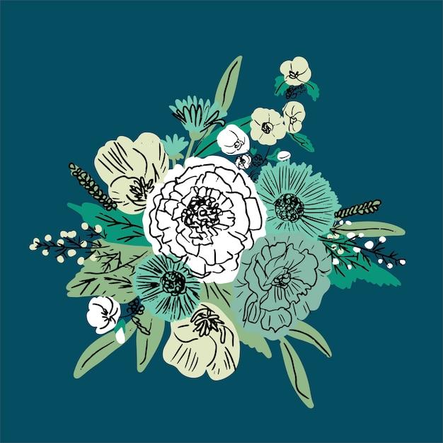 Vetor de mão desenhada floral conjunto Vetor Premium
