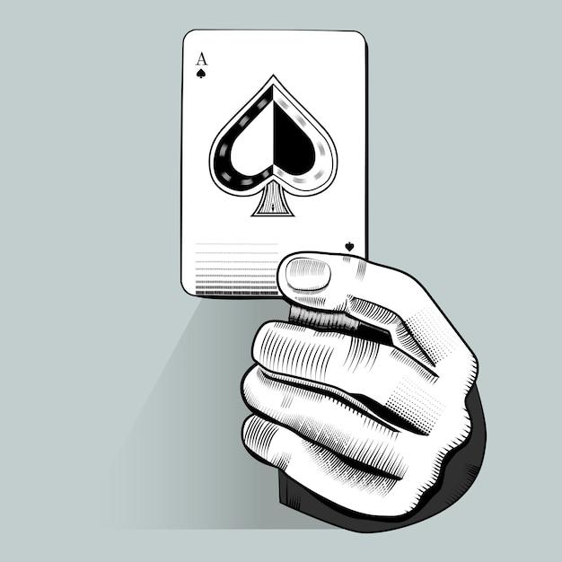 Vetor de mão segurando o cartão de jogo aleatório Vetor Premium